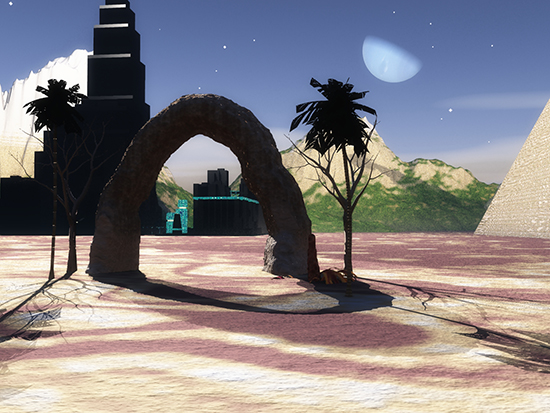 The stone arch on the Robot planet.